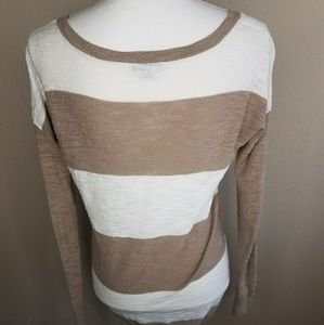 Express Tops - 🛒Express Brown White Block Stripe Wide Longsleeve